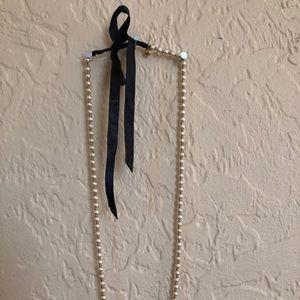 J. Crew Jewelry - J Crew Pearl Necklace with Satin Tie